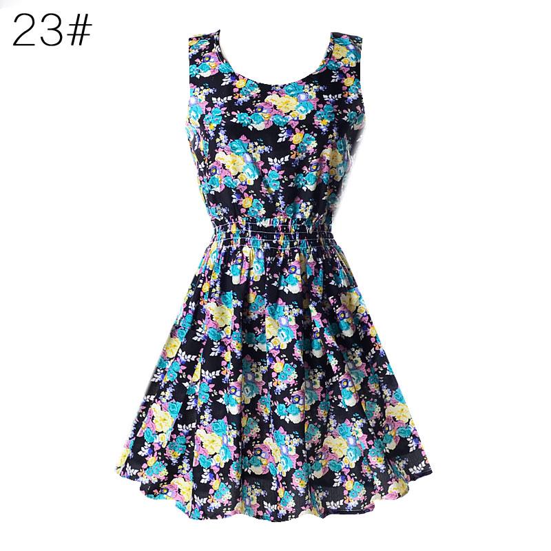 Sexy kobiety chiffon dress sundress plaża floral bez rękawów tank mini sukienki vestido 24