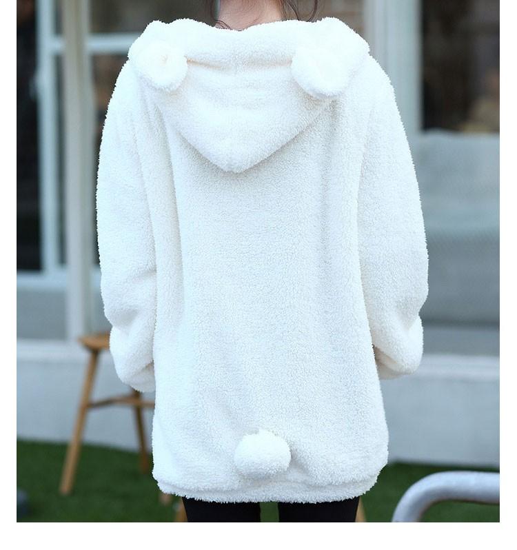 Hot Sprzedaż Kobiety Swetry Zipper Dziewczyna Zima Luźne Puszyste Niedźwiedź Ucha Bluza Z Kapturem Kurtka Warm Odzież Wierzchnia Płaszcz słodkie bluza H1301 4