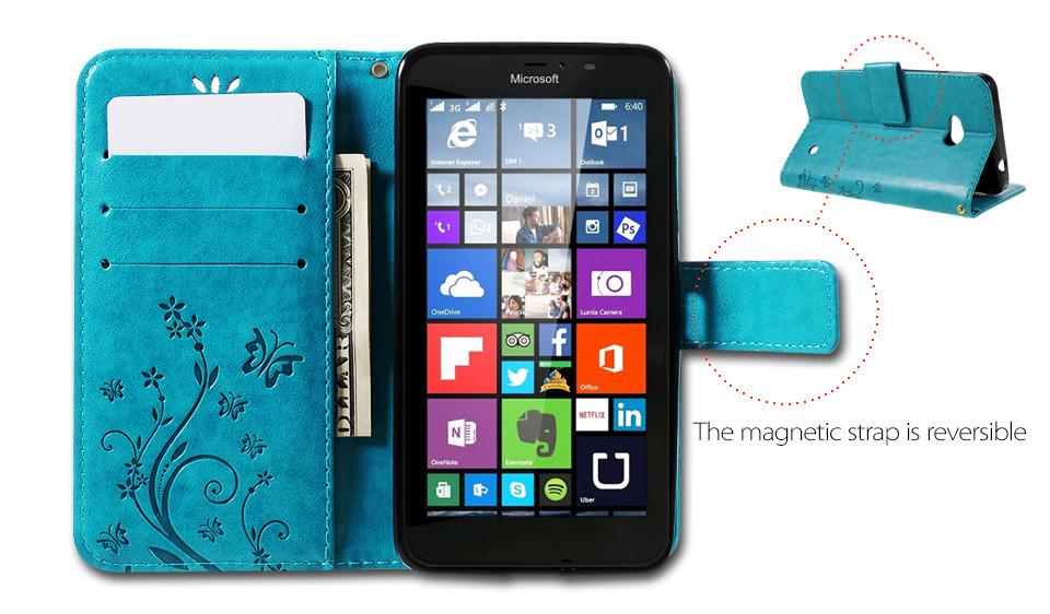 Dla microsoft nokia lumia 640 lumia 630 lumia 550 worek nadrukowane butterfly pu wizytownik skórzany telefon okładka case shell 4