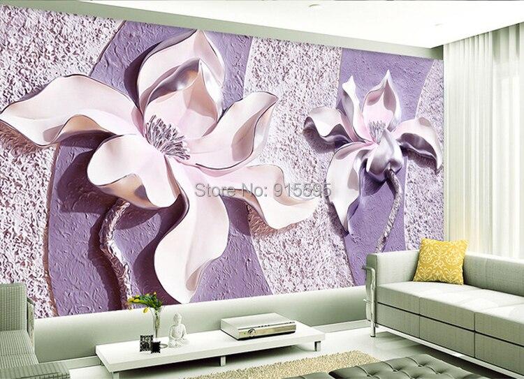 Dostosować dowolny rozmiar 3d relief purple magnolia sypialnia tv tło tapeta wystrój domu salon włókniny mural tapety 4