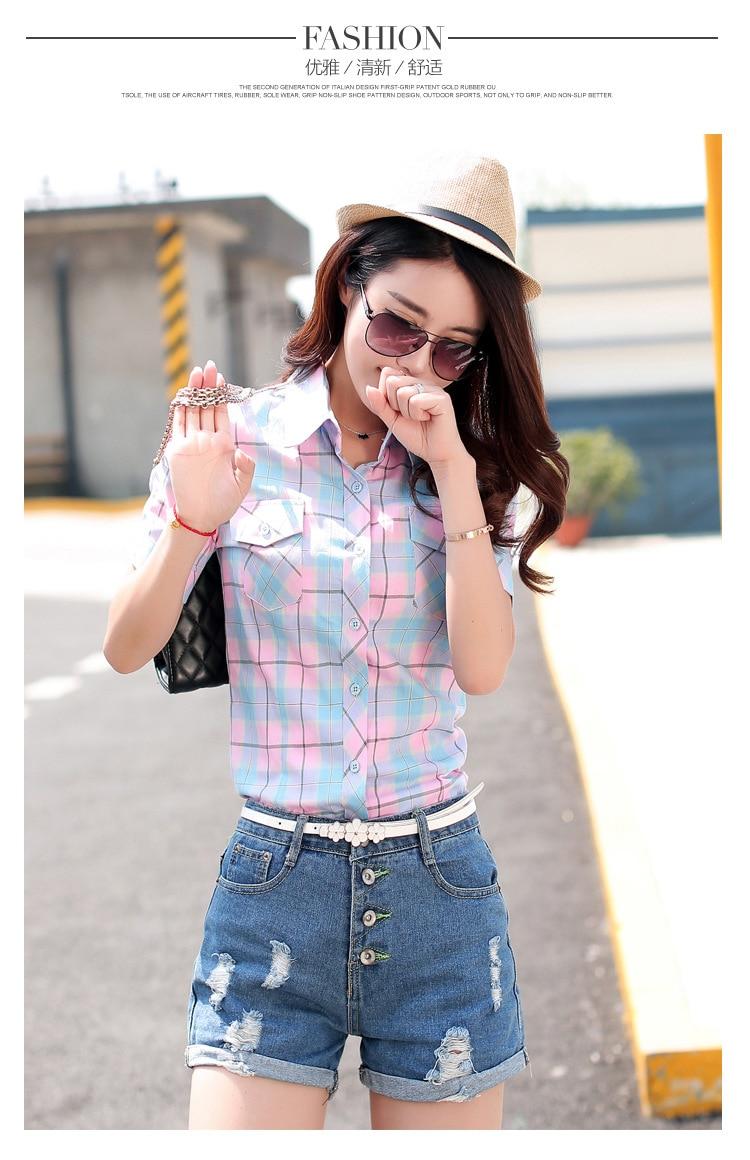 Brand New 2017 Lato Styl Plaid Drukuj Krótki Rękaw Koszule kobiety Plus Rozmiar Bluzki Na Co Dzień 100% Bawełna Topy Blusas 14 kolory 27