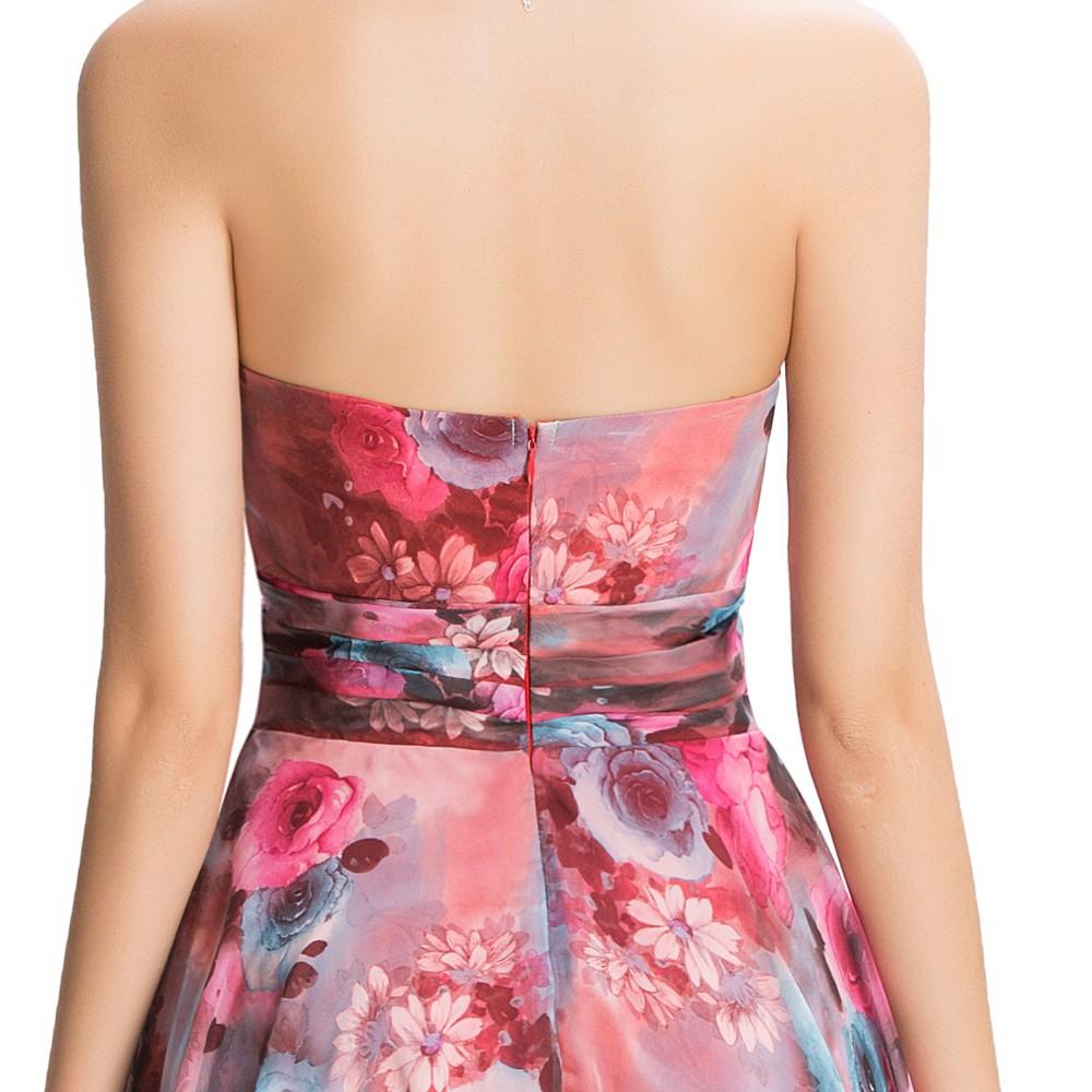 Chiffon Floral Print Short Wedding Bridesmaid Dress 7