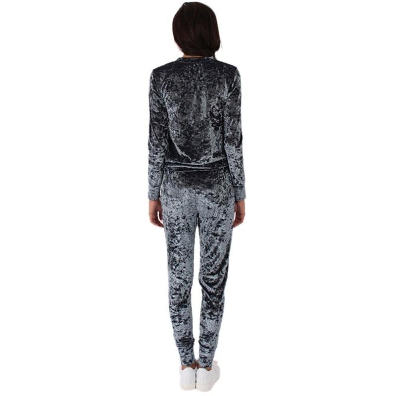 WJ Seksowne Kobiety Dres Ustawia 2017 Nowy Jesień Zima Moda Aksamitne długi Rękaw Bluzy Topy + Spodnie Wąskie Garnitury Femme 2 Sztuka Zestaw 13