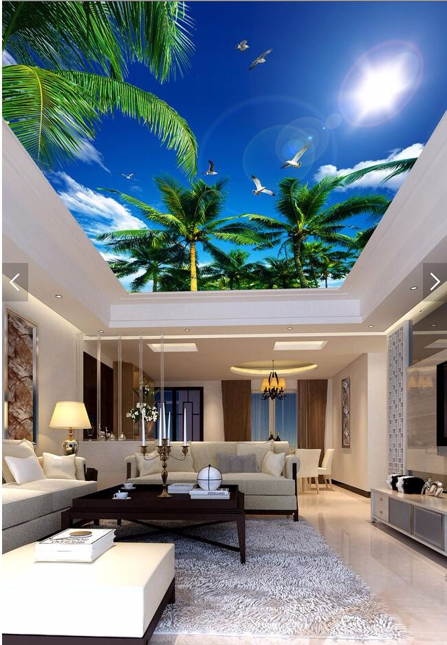 custom 3D wallpaper living room Blue sky palm sun smallpox top Art Hotel Restaurant mural murals-3d wall papers home decor 3