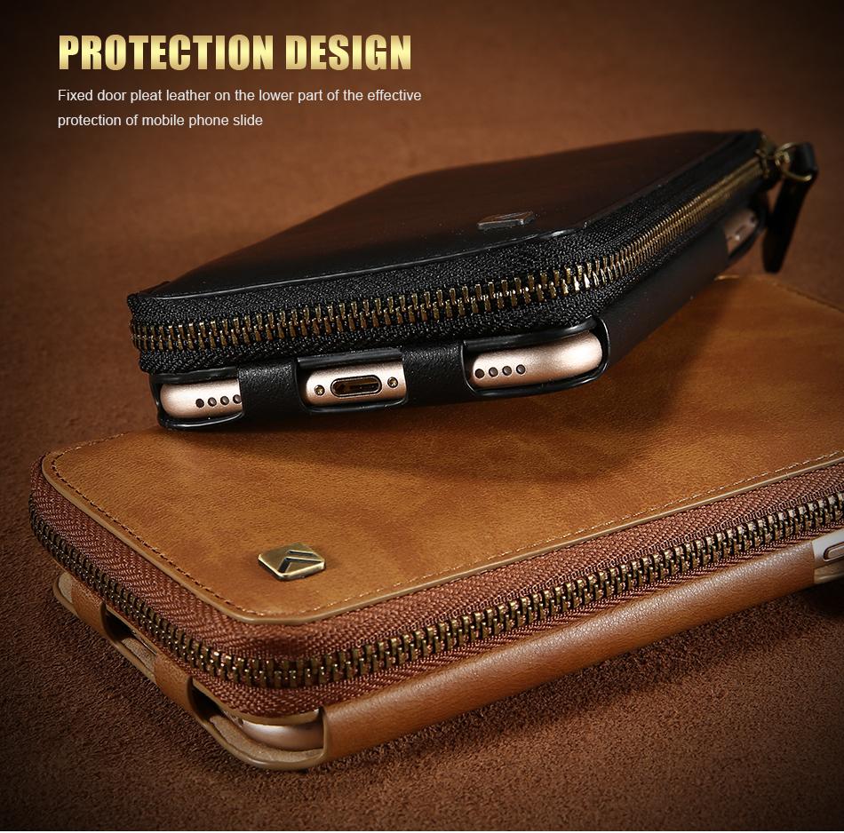 Floveme vintage wallet case dla iphone 6 6 s 7 plus skórzanej oprawie zipper torebka posiadacza karty retro przypadki telefonów dla iphone 6 6 s 7 5