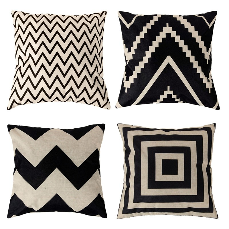 4 Types 45*45cm Vintage Fashion Cotton Linen Cushion Cover Throw Pillow Case Sofa Car Decor Cushion Cover 1