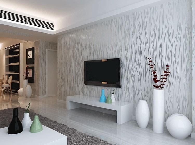 Włókniny Mody Cienkie Pionowe Paski Uciekają Tapety Do Salonu Sofa Tle Ściany Domu Tapety 3D Szary Srebrny 2