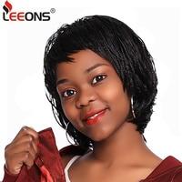 Leeons טבעי שחור קלוע פאות עם פוני קיץ קצר פאה עבור נשים תיבת צמת אפריקה פאה עמיד בחום סינטטי סיבים