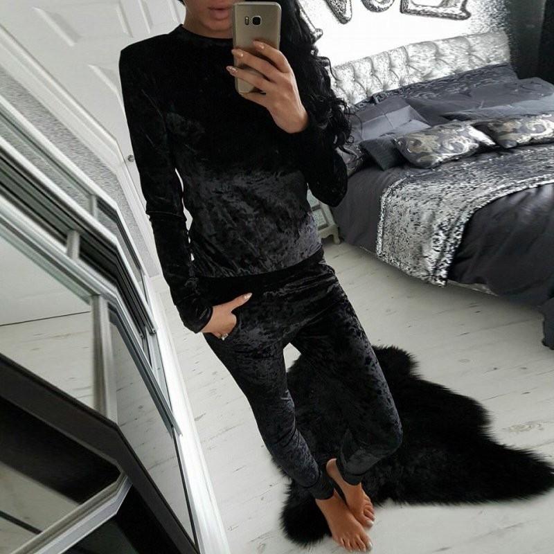 WJ Seksowne Kobiety Dres Ustawia 2017 Nowy Jesień Zima Moda Aksamitne długi Rękaw Bluzy Topy + Spodnie Wąskie Garnitury Femme 2 Sztuka Zestaw 15