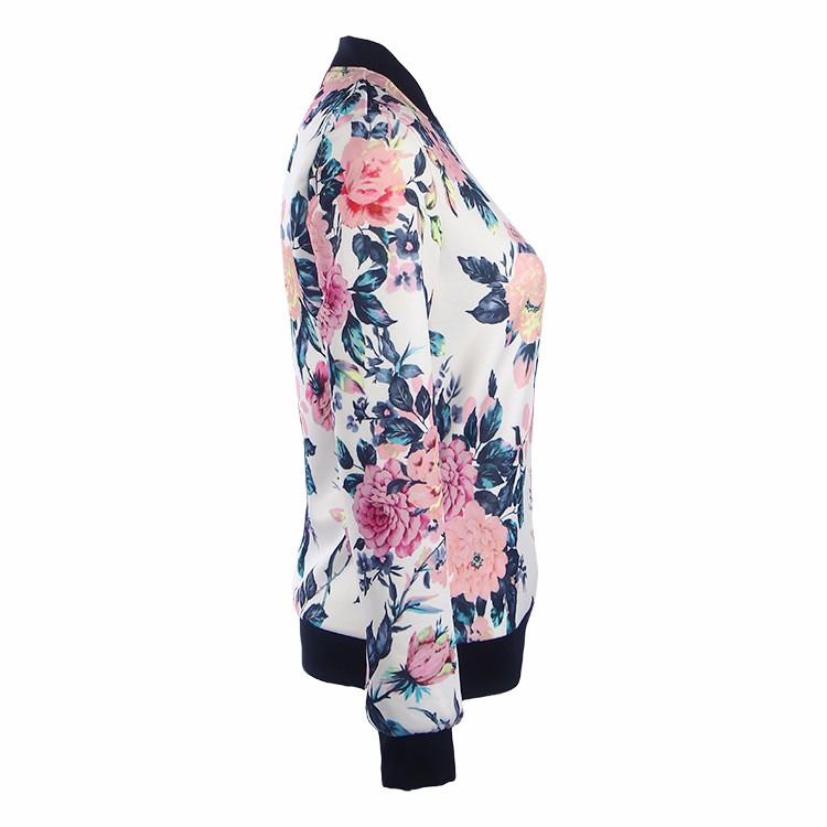 Kwiat Drukuj Kobiety Podstawowe Płaszcze Długim Rękawem Zipper Bomber Jacket Casual Kurtka Płaszcz Jesień Zima Streetwear sukajan 26
