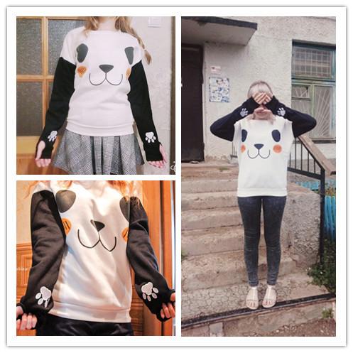 New College Wiatr Kobiety Bluzy Moda Cartoon Panda Bluzy Dorywczo Drukowane Mieszane Kolor Harajuku Dresy Kobiet Sudaderas 2