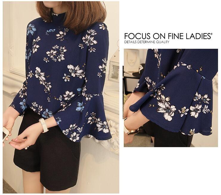 2016 jesień kwiatowy flare rękawem koszula szyfonowa bluzka kobiet topy kobiety biuro panie bluzka koreański fashion blusas chemise femme 2