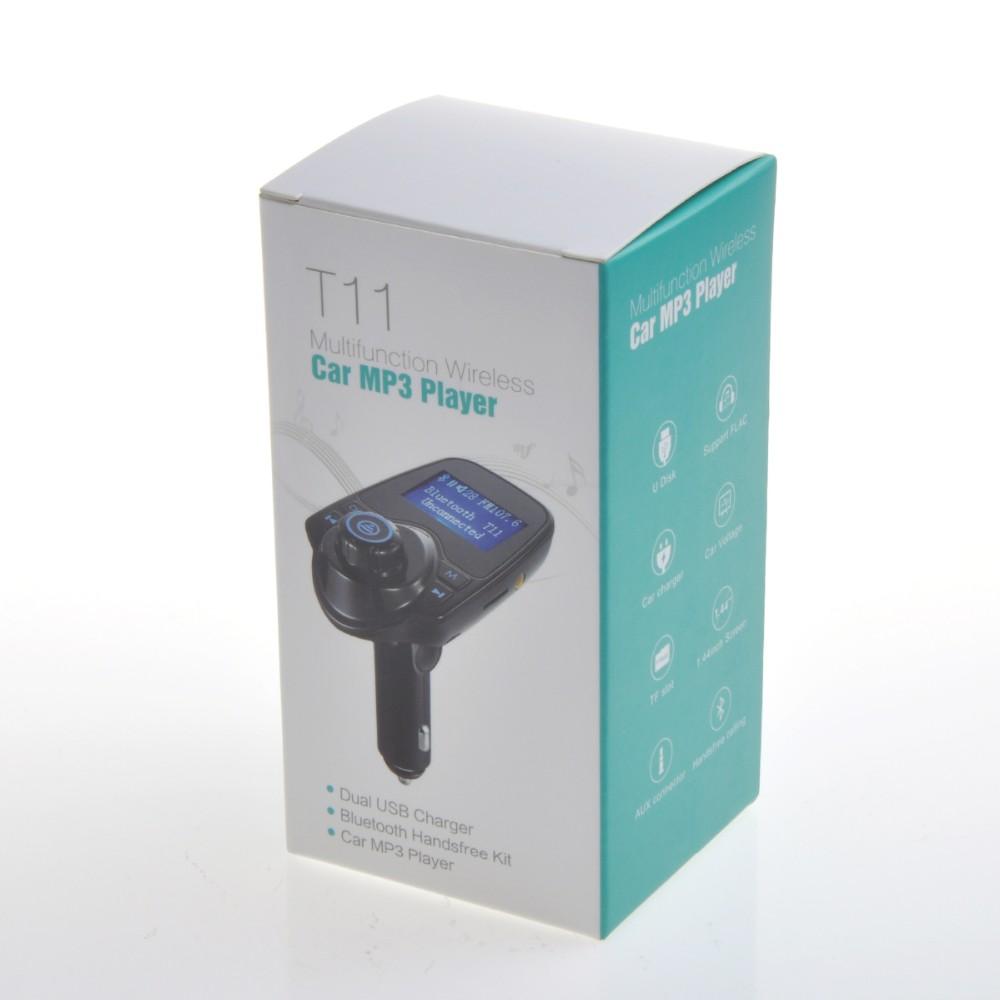 Samochodowy Odtwarzacz Mp3 Bezprzewodowy Nadajnik FM Modulator Fm Bluetooth Zestaw Głośnomówiący Zestaw samochodowy A2DP 5 V 2.1A Ładowarka USB dla iPhone Samsung T11 12