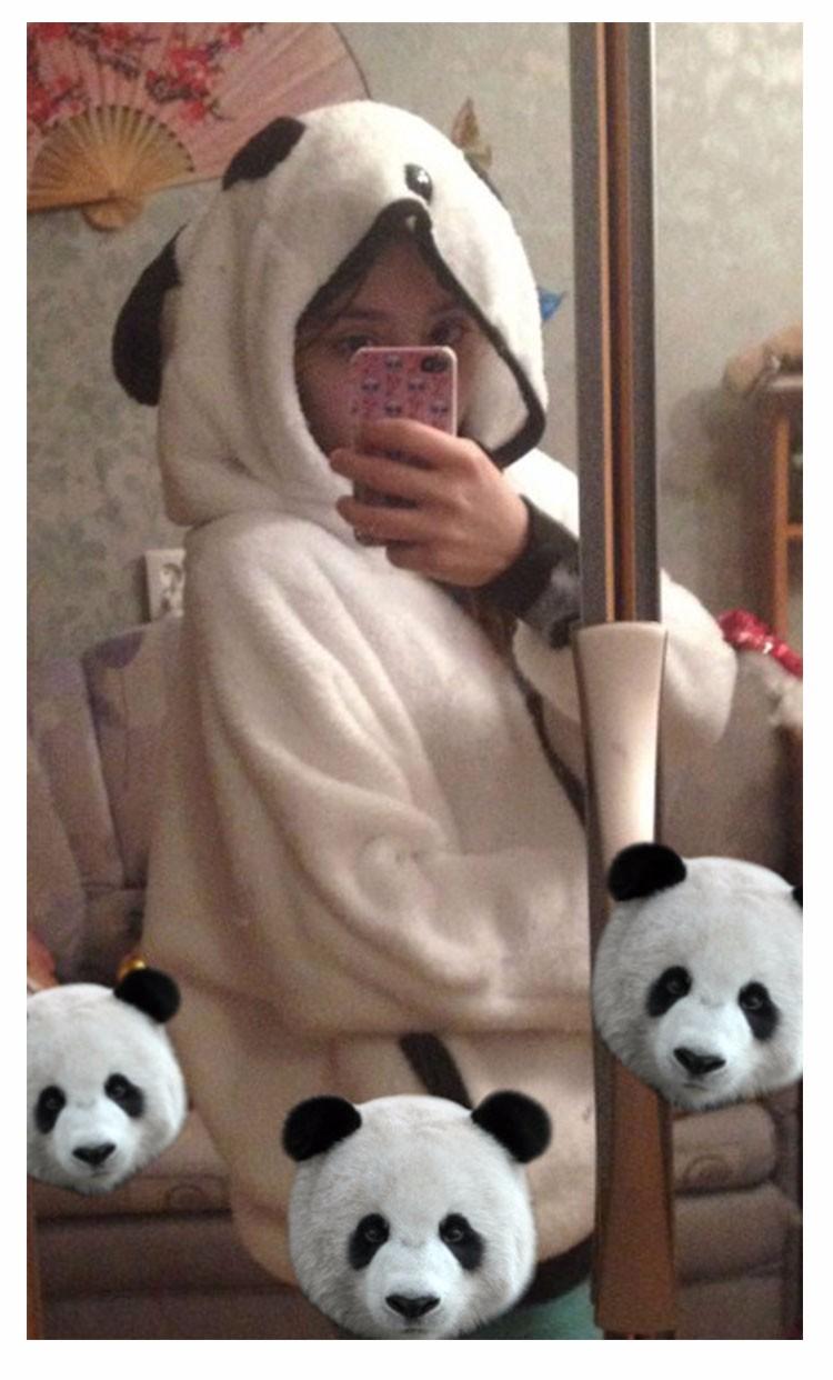2017 Korea Zima Puszyste Panda Ucha Kobiety Swetry z Wełny Kaptur Batwing rękaw Bluza Dorywczo Słodkie Znosić sudadera mujer 11