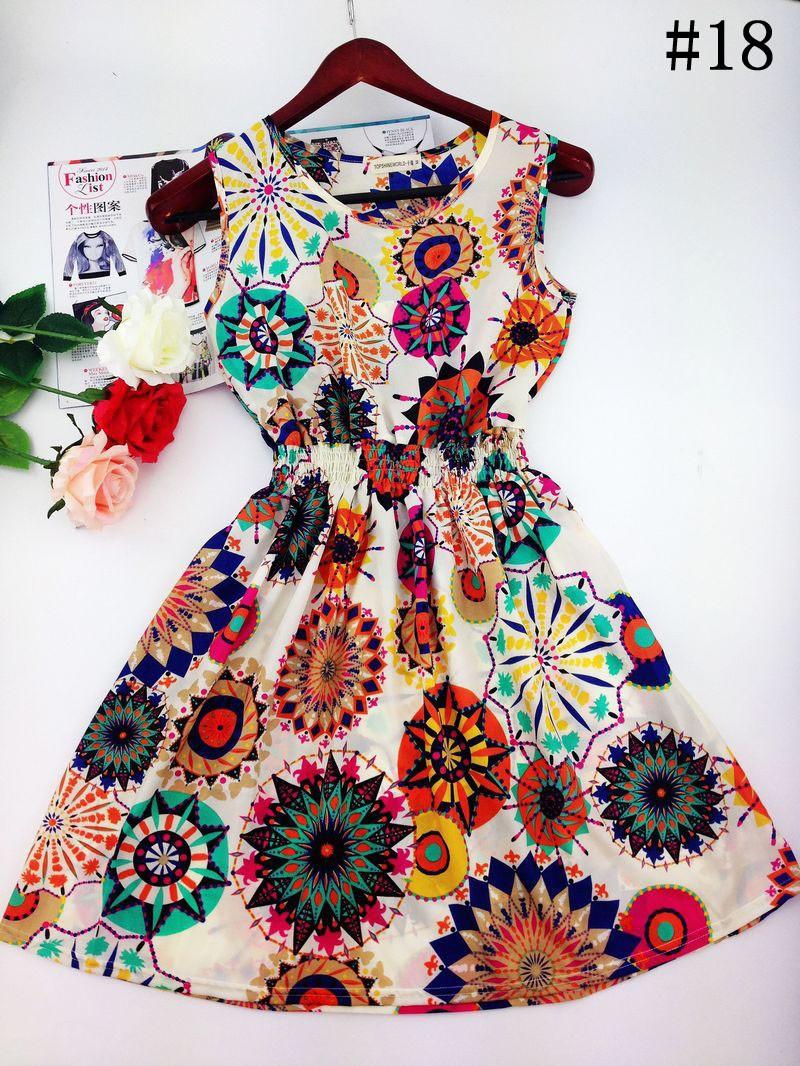 2017 lato jesień nowe koreańskie kobiety dorywczo czeski kamizelka bez rękawów lamparta kwiatów drukowane plaża chiffon dress vestidos wc0344 22