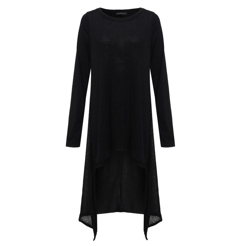 2017 jesień kobiety casual loose dress o neck z długim rękawem z dzianiny sweter vestidos nieregularne hem połowy łydki suknie plus rozmiar s-3xl 6