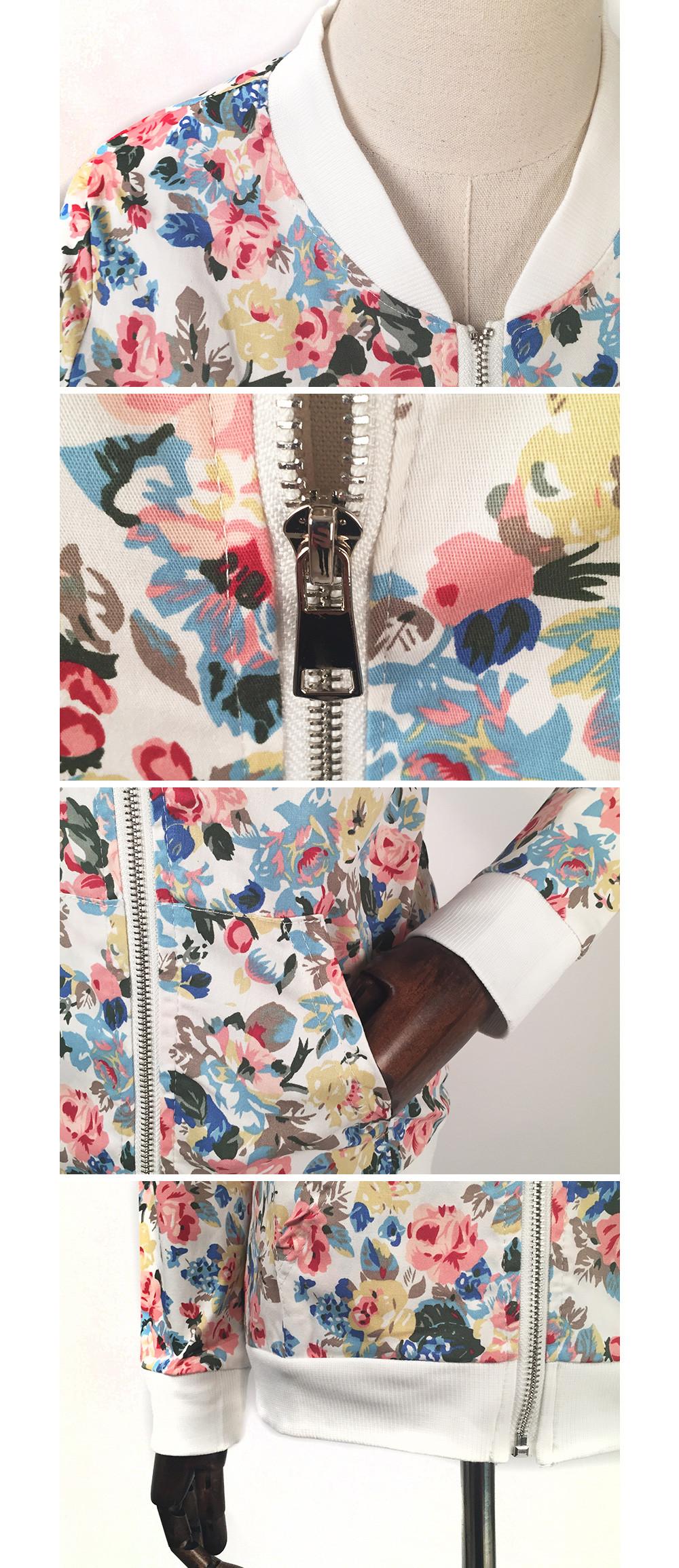 Floral Print Zipper Baseball Jacket 4