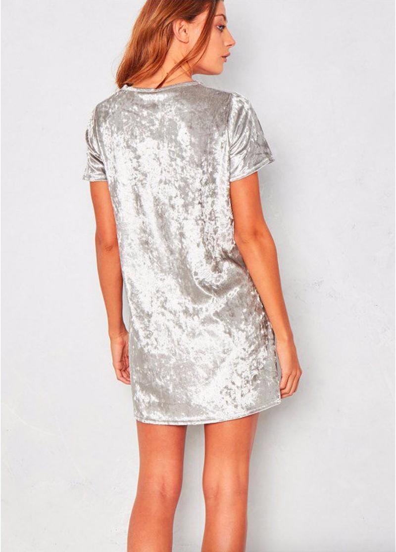 Short Sleeve Velvet Short Casual Dress 5
