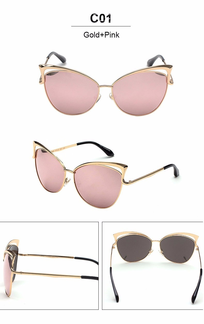 Vintage Cat Eye Twin-Beam Mirror Sunglasses 3
