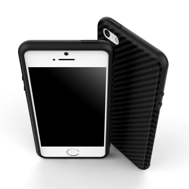 Luksusowe Elegent Wysokiej Jakości Włókna Węglowego Miękki Futerał Dla iPhone 5 5S SE Skórzana Skóry Tekstury Opon 3D Obrońca Pokrywa Dla iPhone SE 7