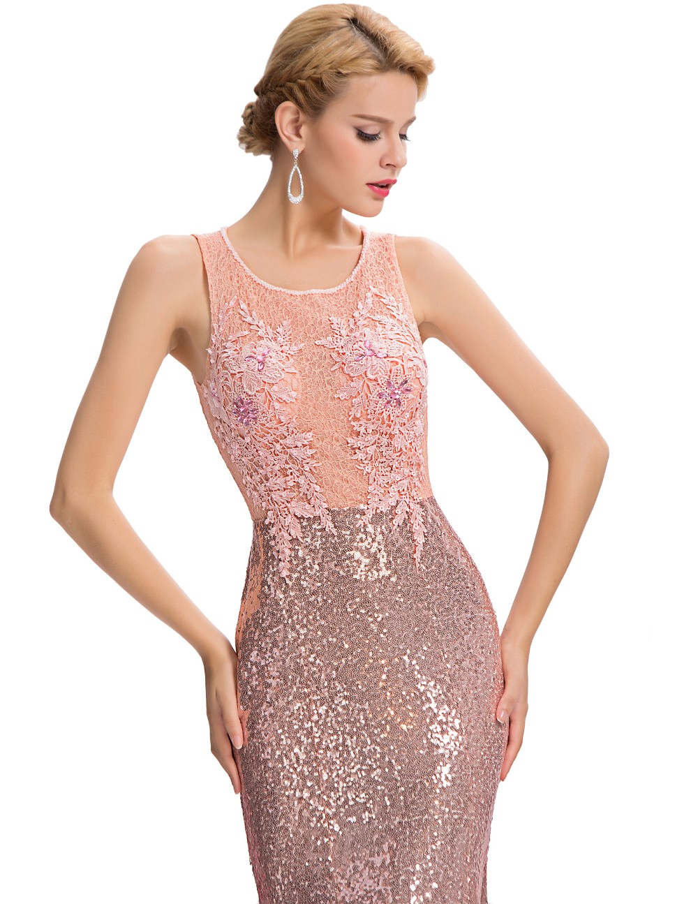 Elegant Pink Sequin Floor Length Backless Lace Mermaid Evening Dress 8