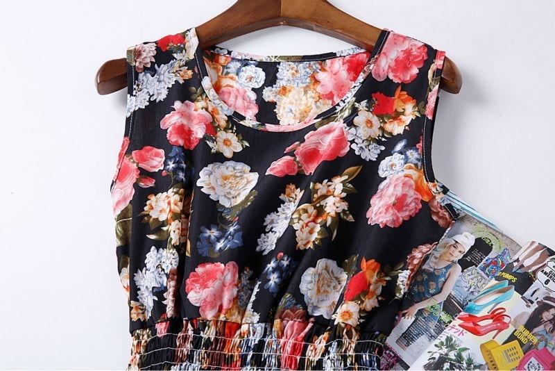 Sexy kobiety chiffon dress sundress plaża floral bez rękawów tank mini sukienki vestido 41
