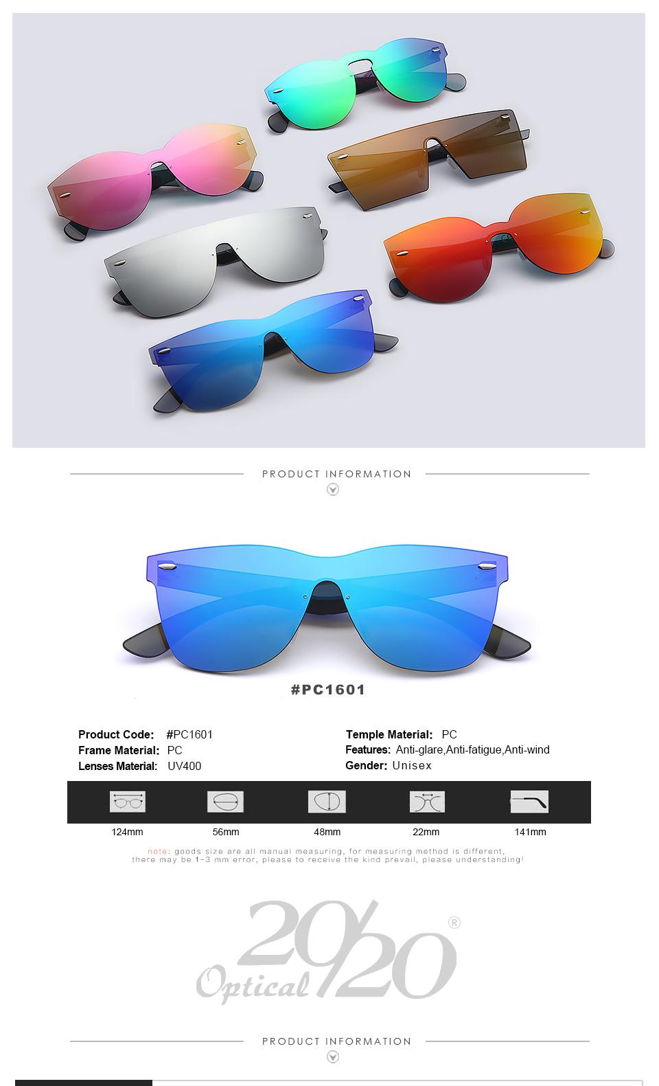 20/20 Marka Vintage Style Bez Oprawek Okularów Przeciwsłonecznych Mężczyzna Soczewka Płaska PC1601 Kwadratowych Rama Kobiety Okulary Óculos Gafas 1