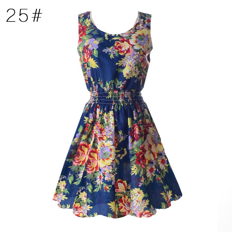 Sexy kobiety chiffon dress sundress plaża floral bez rękawów tank mini sukienki vestido 26