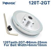 Powge 120 dentes polia de distribuição 2gt furo 6/6.35/8/10/12/14/15/16/19/20/22/25mm para correia síncrona gt2, largura 6/10mm 120 dentes 120 t