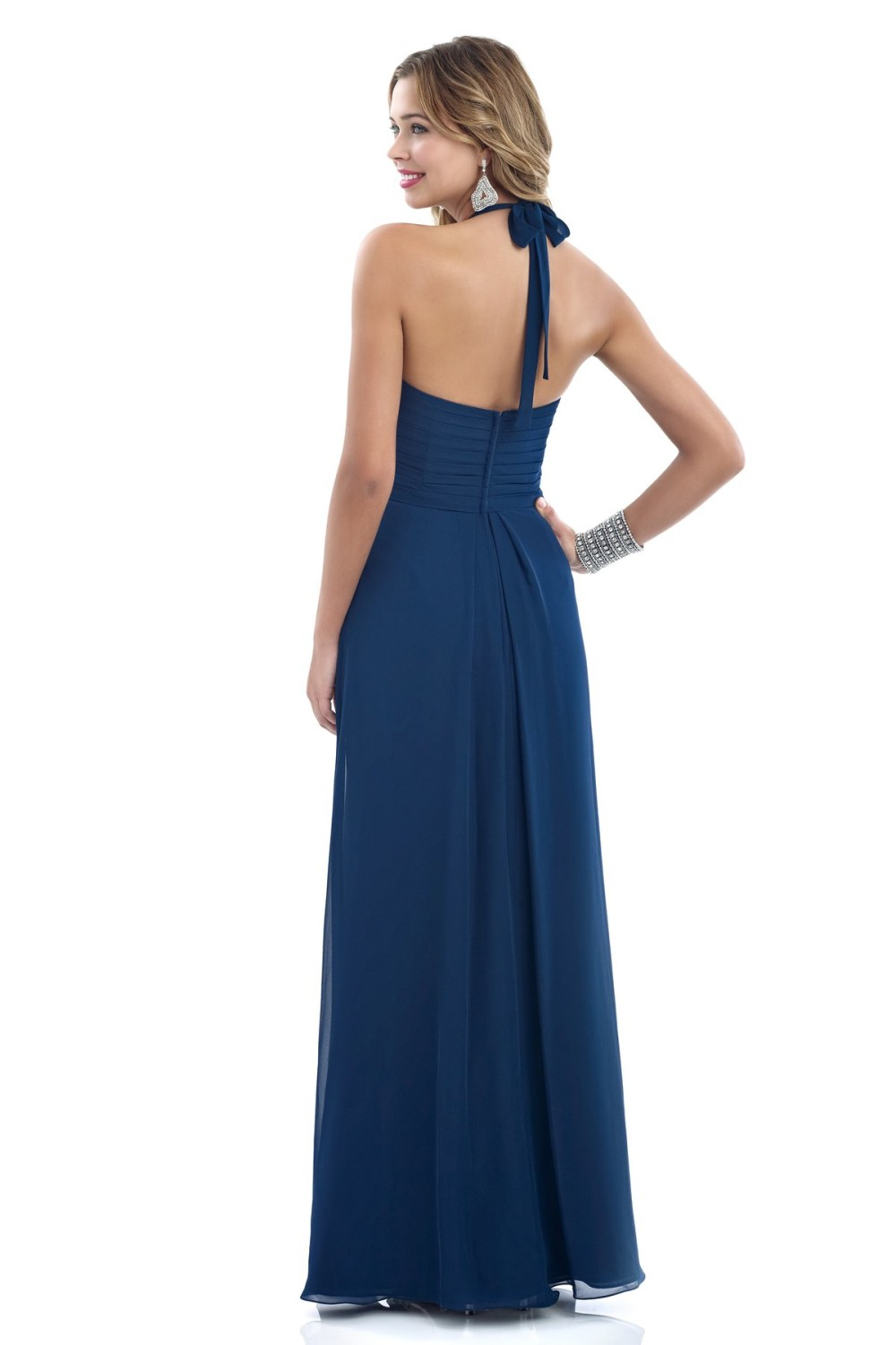 Halter Pleated Zipper A Line Chiffon Bridesmaid Dress 2
