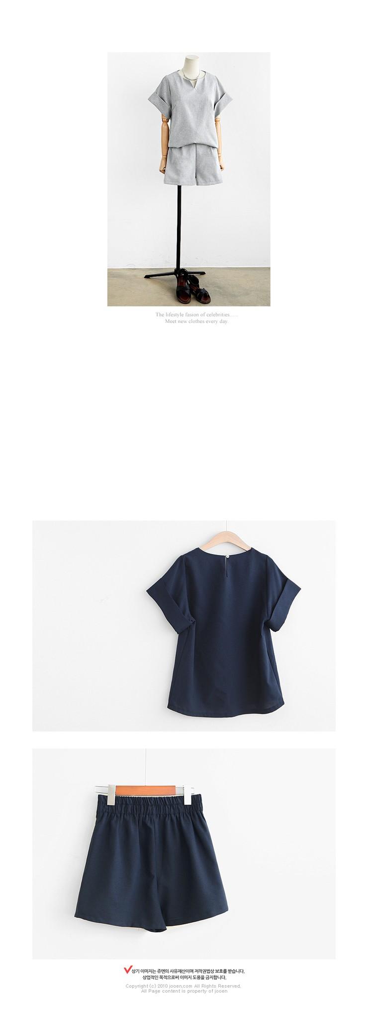 2017 Kobiety Lato W Stylu Casual Cotton Linen Top Koszula Kobiece Pure Color Kobiet Biuro Garnitur Ustawić kobiet Kostiumy Hot Krótki zestawy 8