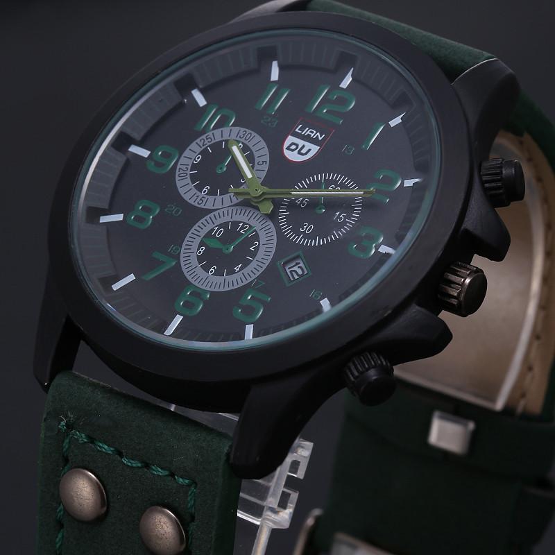 2016 New Business Quartz watch Men sport Zegarki Wojskowe Mężczyźni Corium Skórzanym Paskiem armii zegarek zegar godziny Kompletna Kalendarz 6