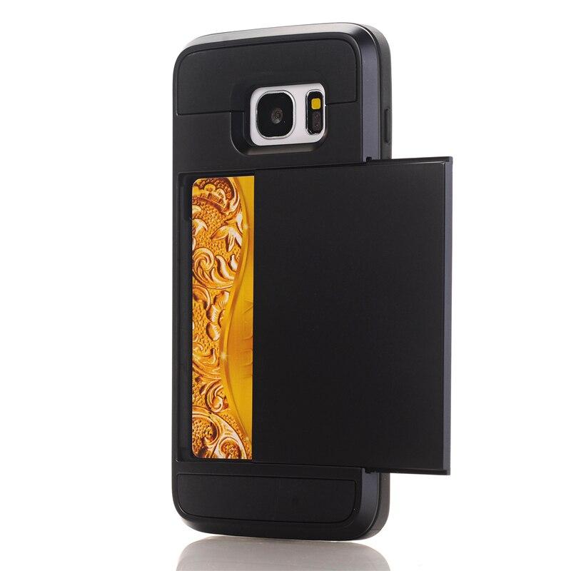 Zbroja slajdów credit card case do samsung galaxy s3 s4 s5 S6 S7 krawędzi Slot Portfel Shock Proof Skóry Twardego Plastiku + TPU Pokrywy Shell 11