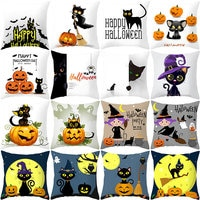 YWZN Halloween Pillow Case Halloween Pumpkin Cat Decorative Pillowcase Halloween Cat Printing Throw Pillow Case kussensloop