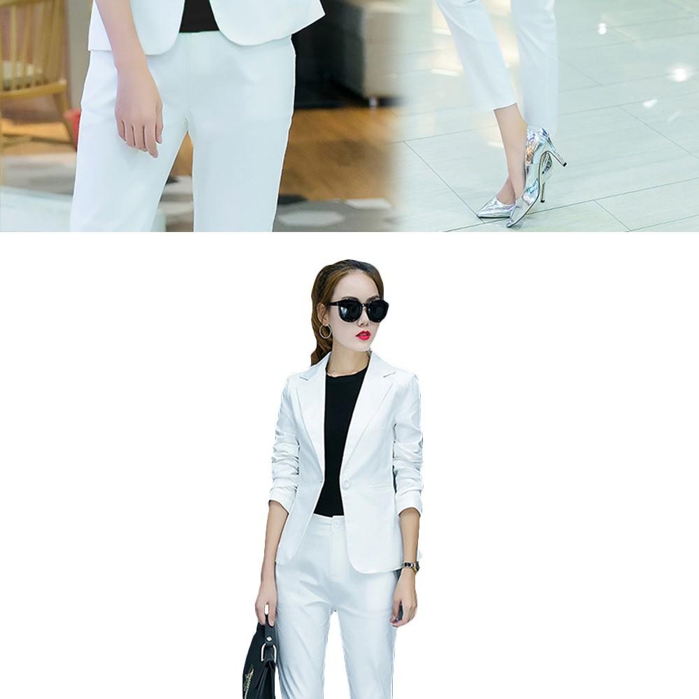 2017 w nowym stylu mody OL eleganckie kobiety pant suits formalna firm garnitur nosić pełne rękawem jednego przycisku femme blazer garnitur szczupła kurtka 15