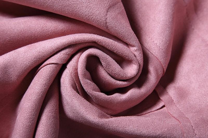 O-Neck Long Sleeve Suede Mini Dress 13