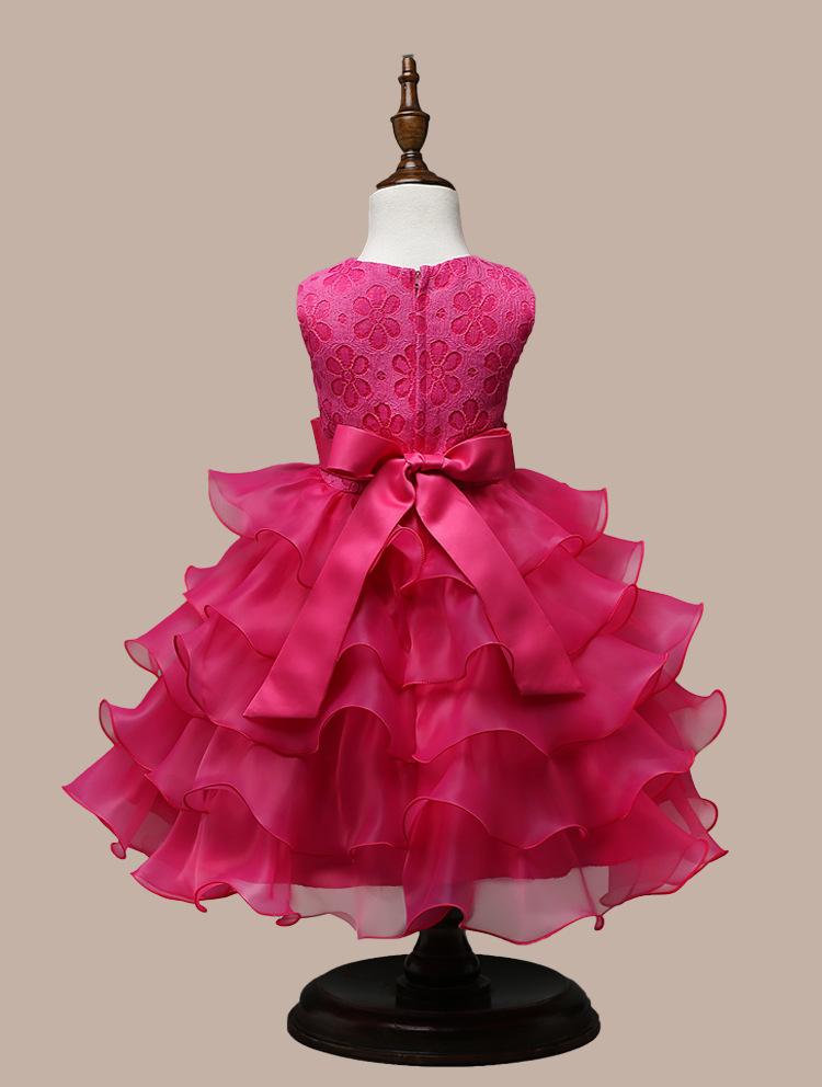 0-7 Years Mutlti Layer White Pink Flower Girl Dress 14