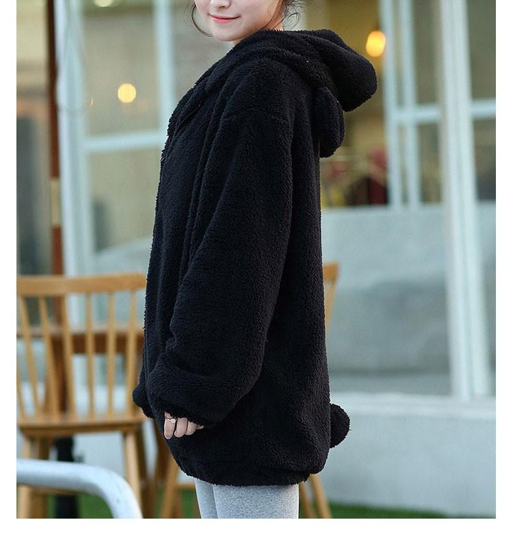 Hot Sprzedaż Kobiety Swetry Zipper Dziewczyna Zima Luźne Puszyste Niedźwiedź Ucha Bluza Z Kapturem Kurtka Warm Odzież Wierzchnia Płaszcz słodkie bluza H1301 9