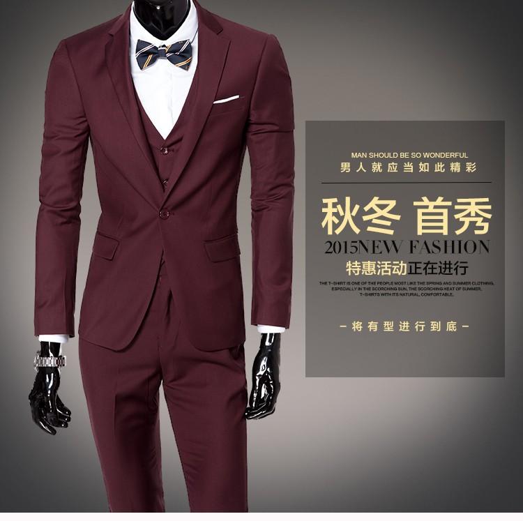 (Kurtka + kamizelka + spodnie) 2017 Nowa wiosna marka koszulka Męska slim fit Firm a trzyczęściowe Garnitury/Męskie dobrej groom dress/mężczyźni Blazers 14