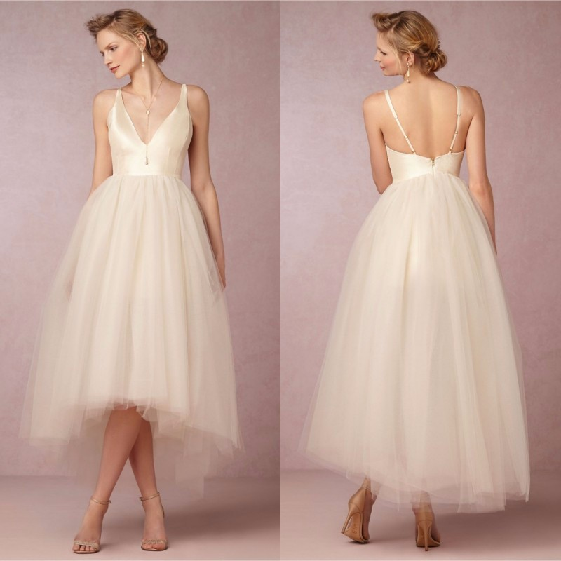 Hi-Lo V-Neck Backless Beach Tulle Ankle Length Maid Of Honor Bridesmaid Dress 1