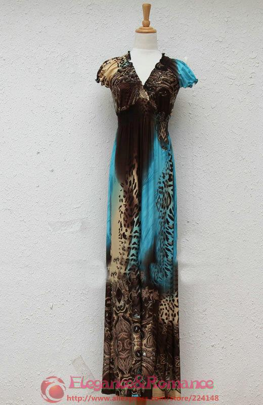2016 New Retail Wiosna I Lato Moda Na Plaży Sukienka Leopard Sukienka Czeski Mopem Duży Rozmiar Ice Silk Suknie 17
