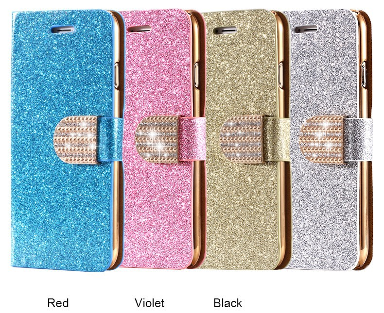 Dla iphone 6 6s plus 7 plus cover glitter bling kryształ diament skórzany portfel case do samsung galaxy s6 edge plus s7 edge torby 10