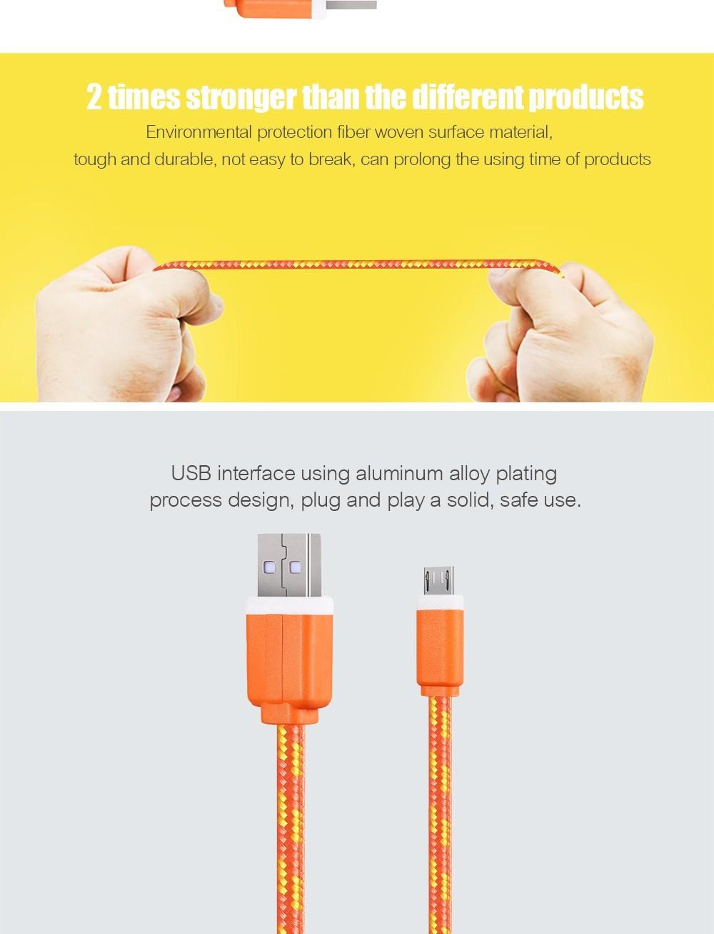 1 m/2 m/3 m materiał nylon pleciony micro usb cable ładowarka synchronizacji danych przewód usb do samsung galaxy xiaomi htc 8 kolory dostępne 4