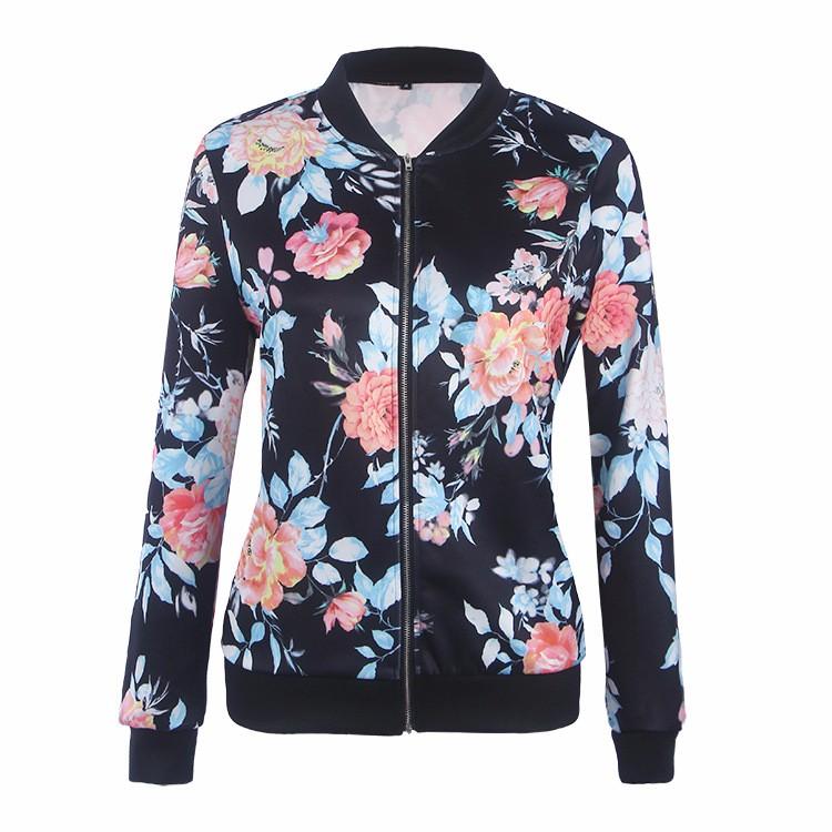 Kwiat Drukuj Kobiety Podstawowe Płaszcze Długim Rękawem Zipper Bomber Jacket Casual Kurtka Płaszcz Jesień Zima Streetwear sukajan 18