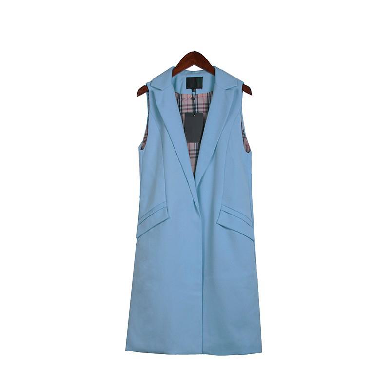 2017 wiosna nowy mody długie kieszenie turn-dół collar otwórz stitch pantone niebieski różowy beżowy czarny żakiet kamizelka bez rękawów kurtki 26