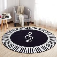 EHOMEBUY New Carpet Music Symbol Piano Keys Black White Round Carpet Anti Slip Rugs Home Bedroom Foot Pads Floor Decoration