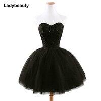חדש הגעה אלגנטי נשים קצר שמלה לנשף שחור תחרה עד נסיכת מתוקה ואגלי אופנה נשים שחור שמלה לנשף