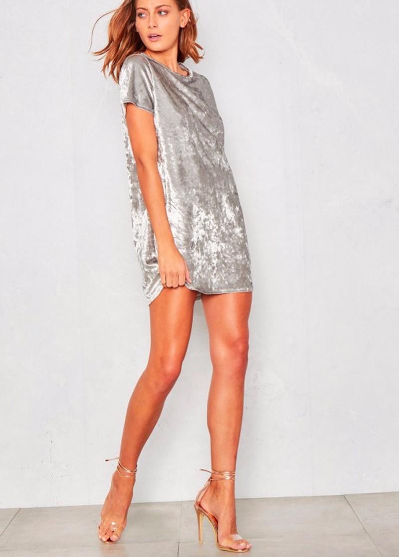 Short Sleeve Velvet Short Casual Dress 4