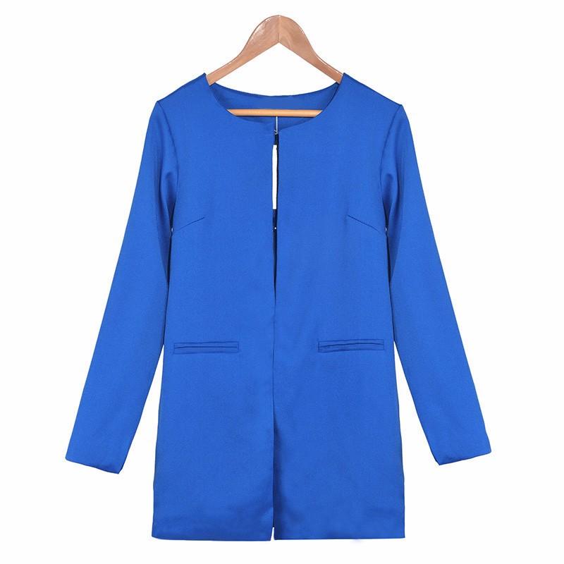 2016 Kobiety Długi Blezer Kurtki 4 Kolory New Fashion Solidna Casual Plus Rozmiar Płaszcz Blazer Feminino 11
