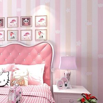 Behang Kinderkamer Roze.Kinderkamer Vliesbehang 3d Blauw Roze Verticale Streep Behang Rollen